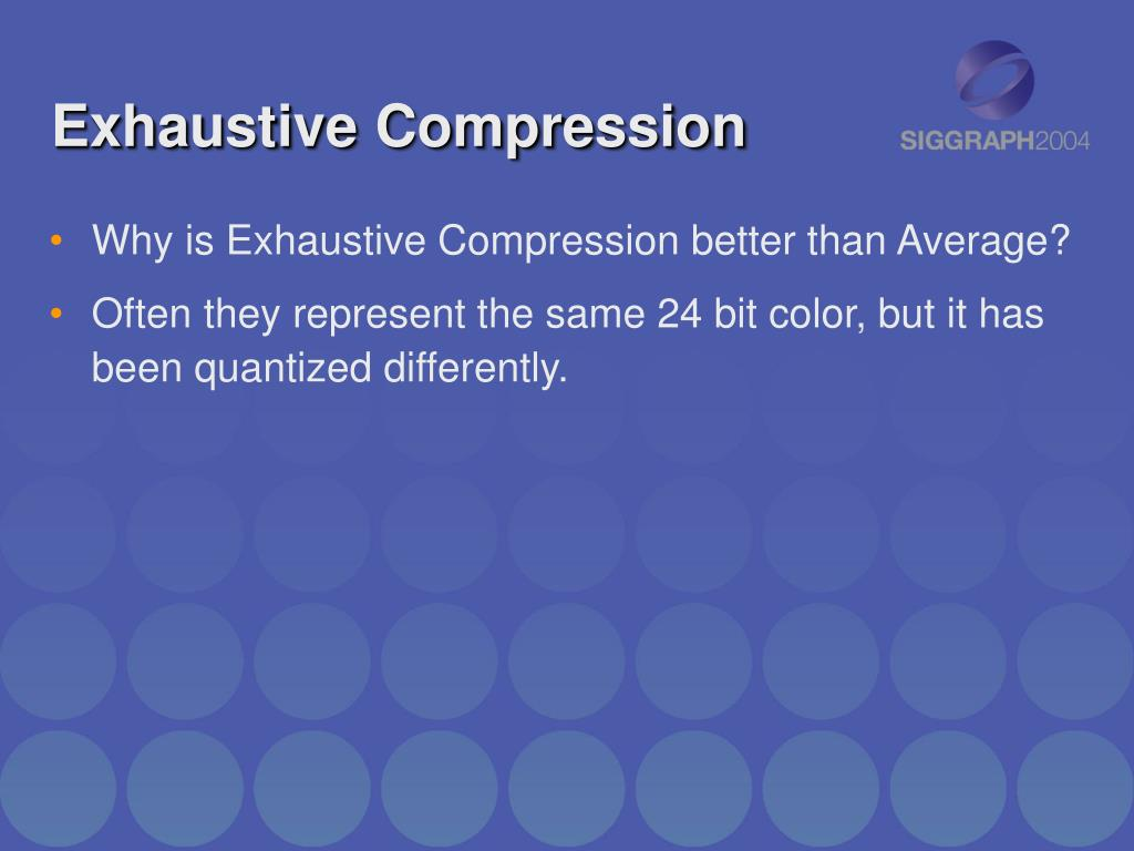 Exhaustive Compression