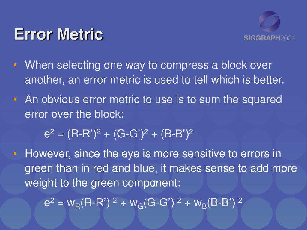 Error Metric