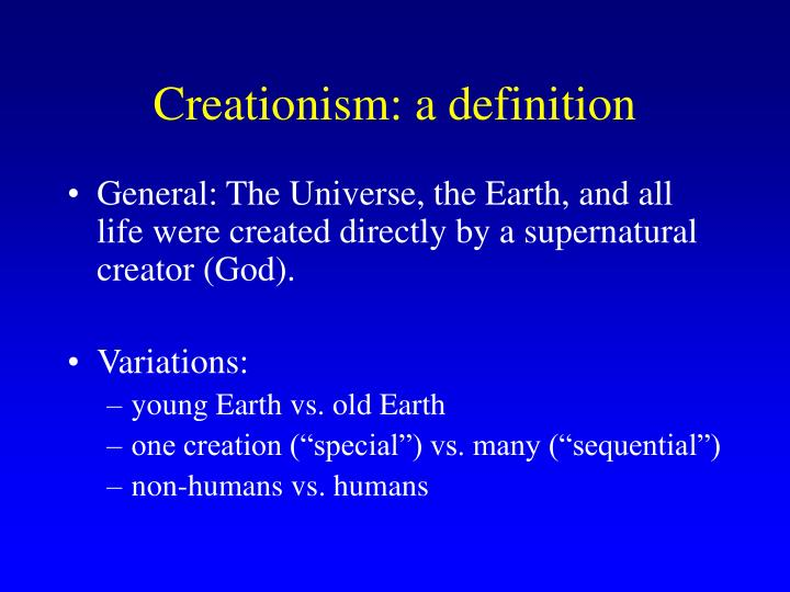 Creationism: a definition