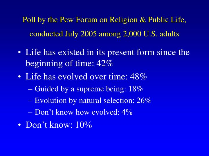 Poll by the Pew Forum on Religion & Public Life, conducted July 2005 among 2,000 U.S. adults