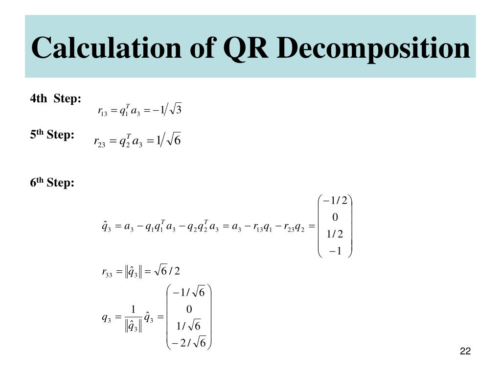 Calculation of QR Decomposition