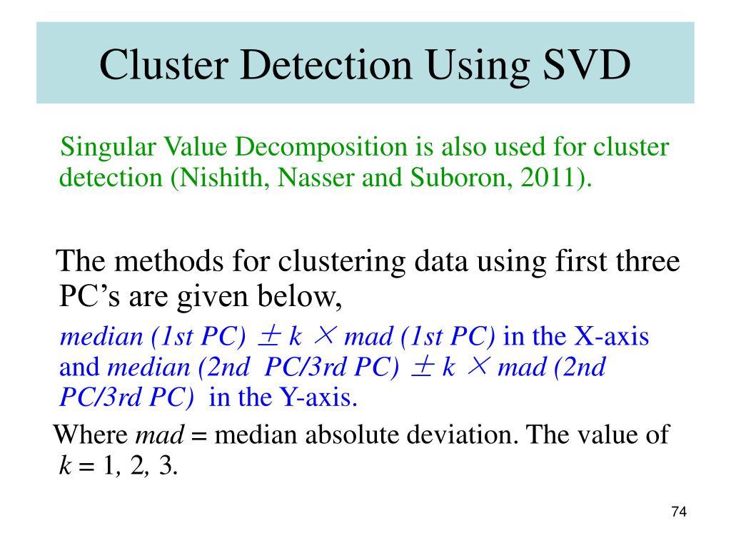 Cluster Detection Using SVD