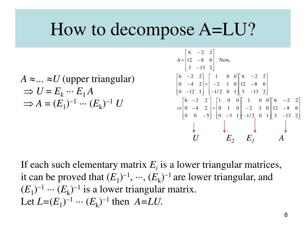 How to decompose A=LU?