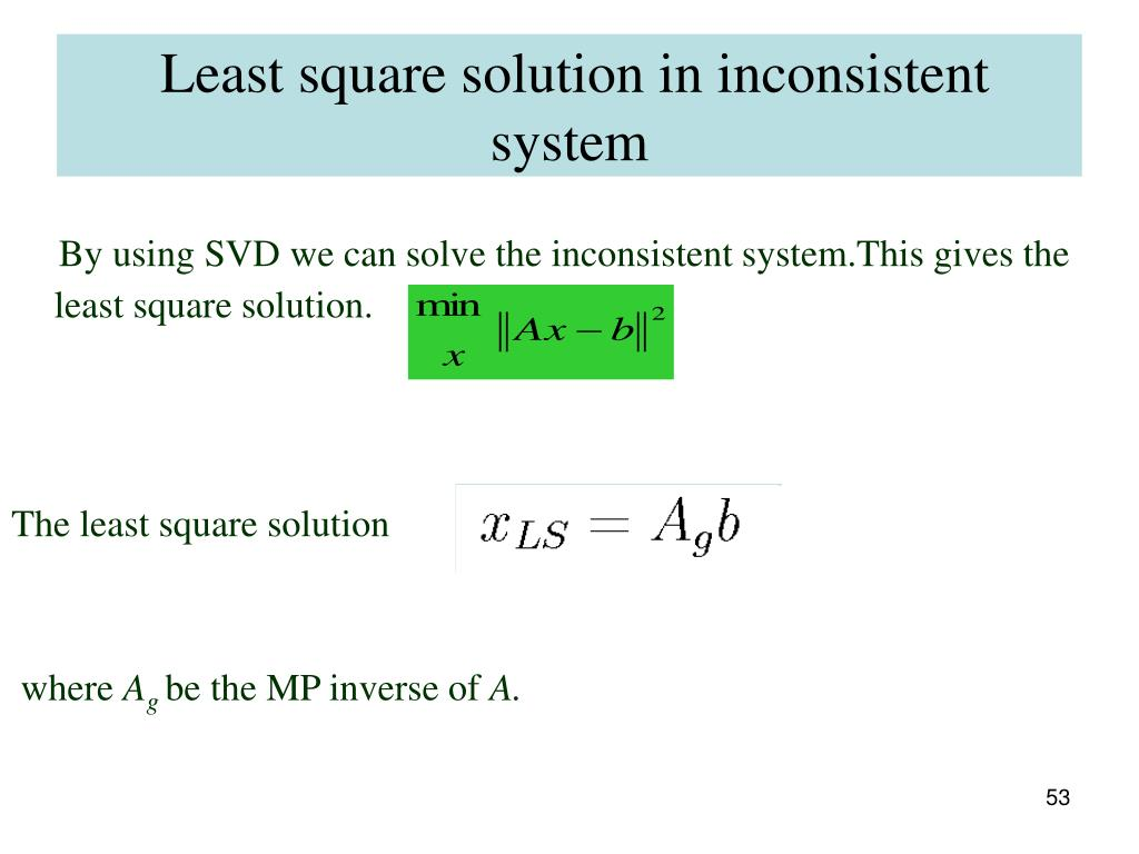 Least square solution in inconsistent system