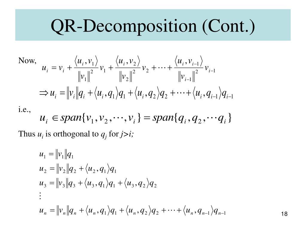 QR-Decomposition (Cont.)