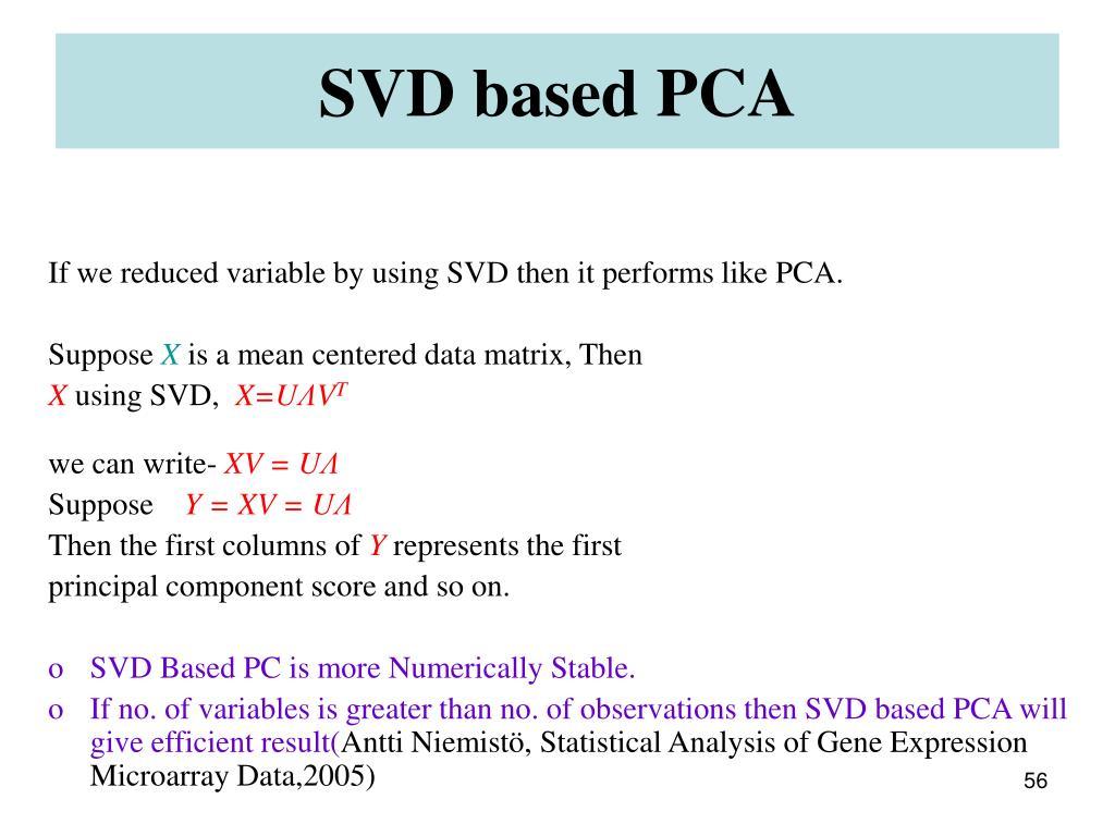 SVD based PCA