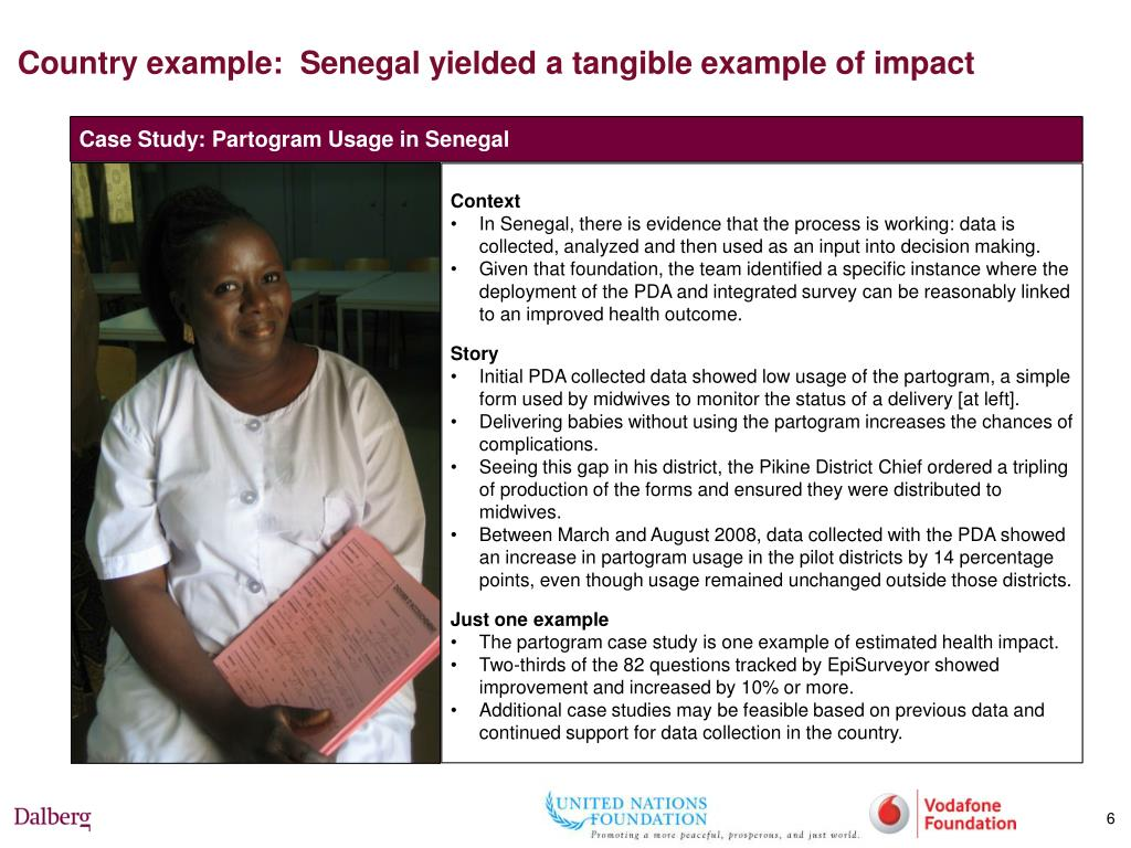 Country example:  Senegal yielded a tangible example of impact