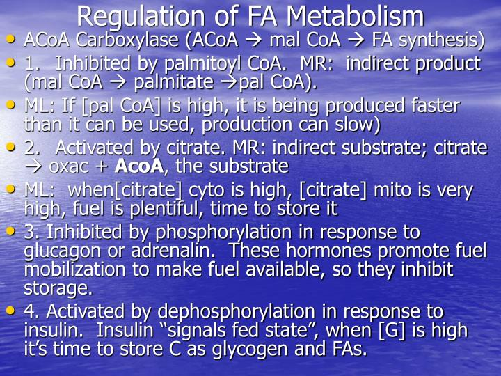 Regulation of FA Metabolism