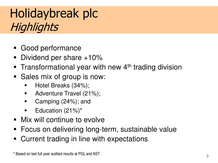 Holidaybreak plc highlights