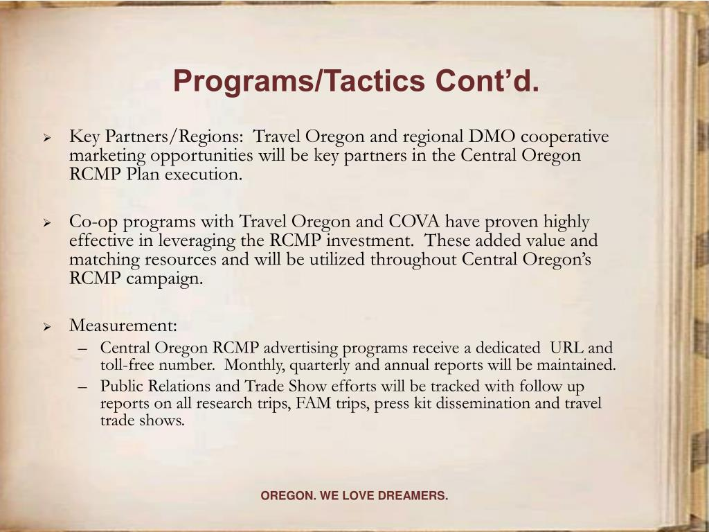 Programs/Tactics Cont'd.