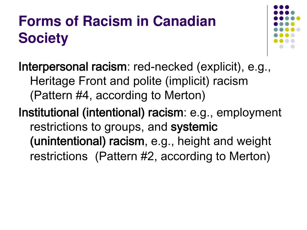 racism in canadian society Context and prevalence of racism and discrimination in canada  in civil society , various levels of government, aboriginal organizations, and.