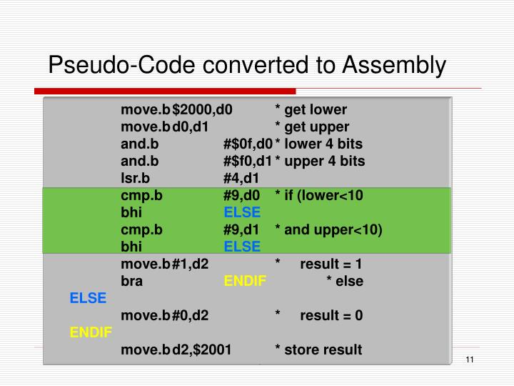 Pseudo-Code converted to Assembly