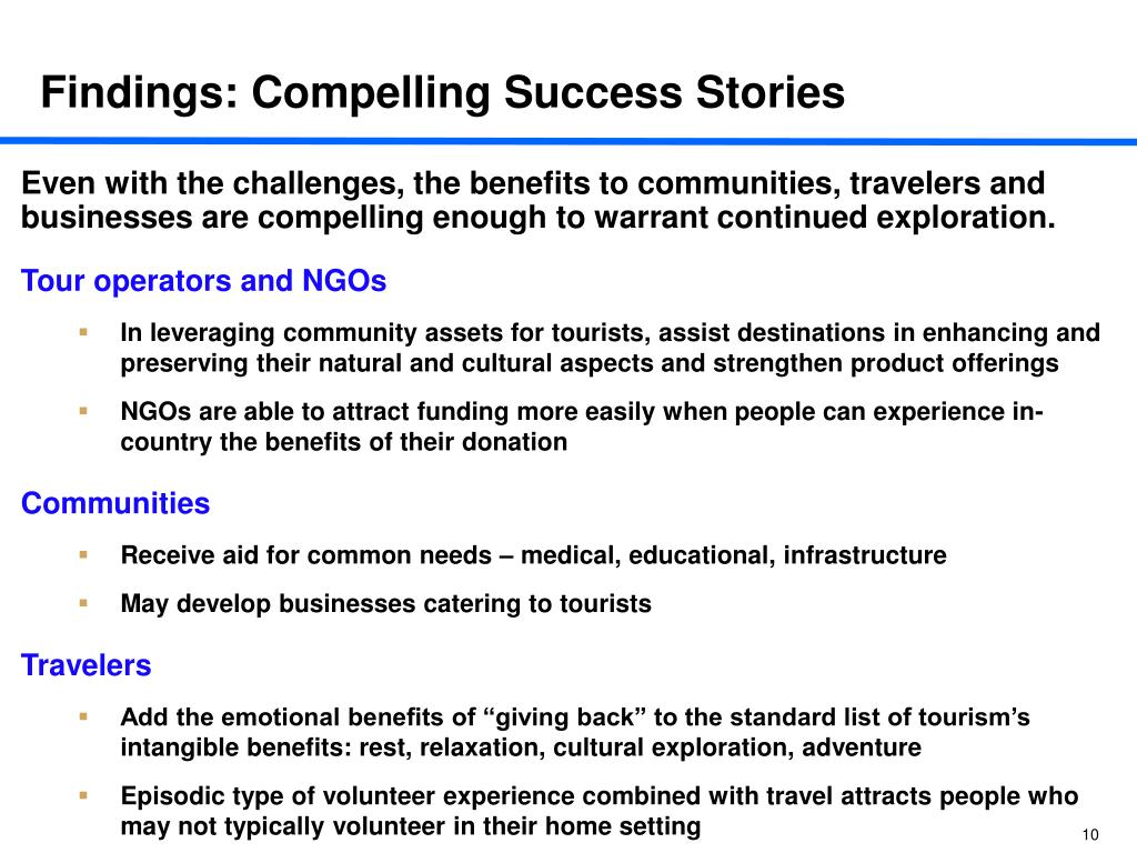 Findings: Compelling Success Stories