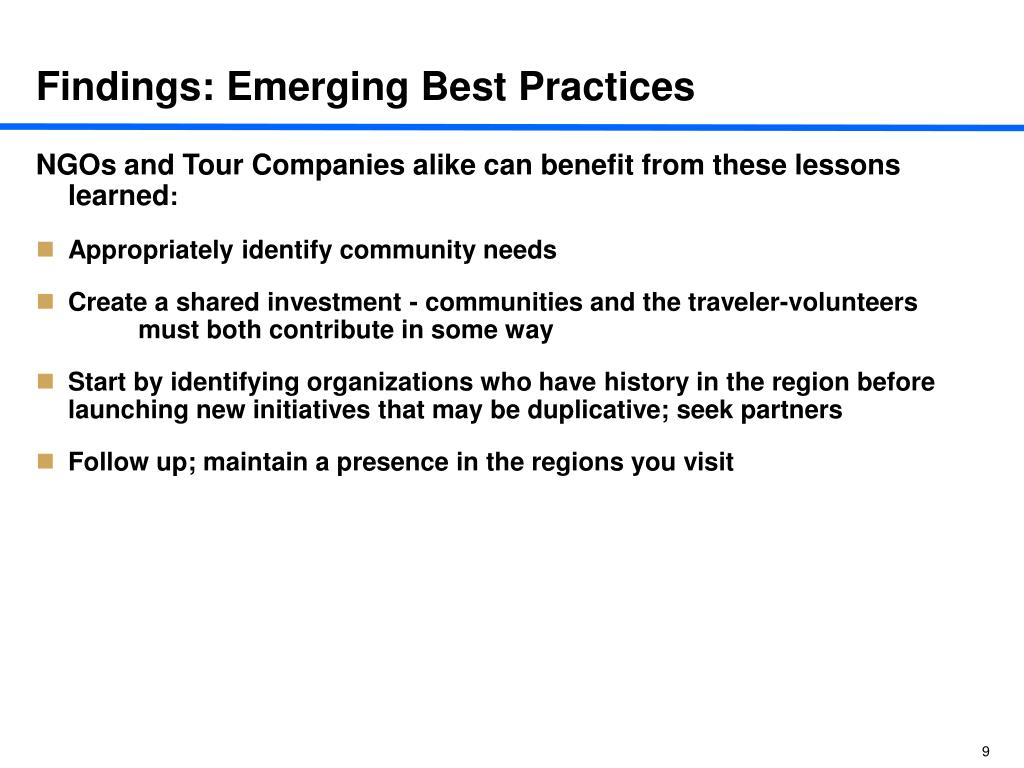 Findings: Emerging Best Practices