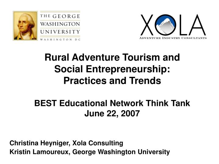 Rural Adventure Tourism and