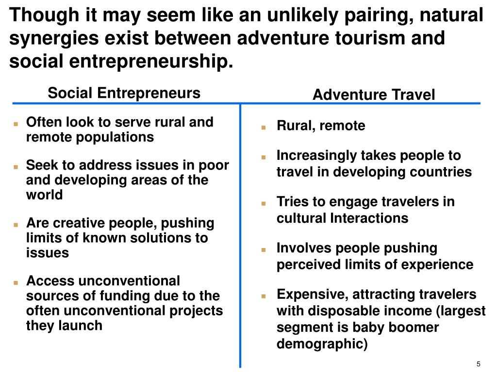 Though it may seem like an unlikely pairing, natural synergies exist between adventure tourism and social entrepreneurship.