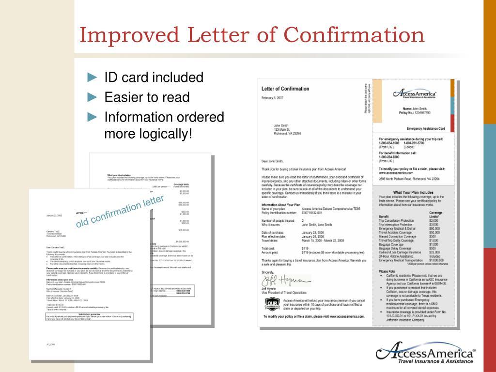Improved Letter of Confirmation