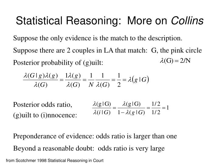 Statistical reasoning more on collins