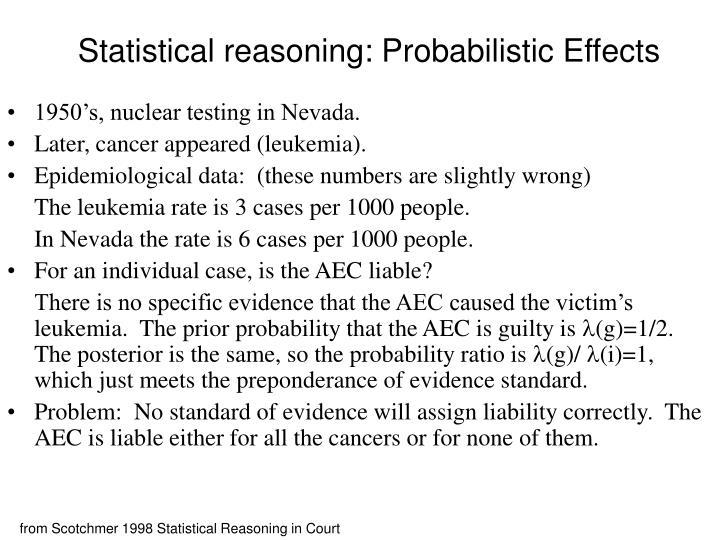 Statistical reasoning: Probabilistic Effects