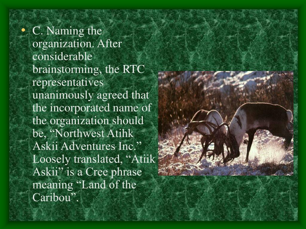 """C. Naming the organization. After considerable brainstorming, the RTC representatives unanimously agreed that the incorporated name of the organization should be, """"Northwest Atihk Askii Adventures Inc."""" Loosely translated, """"Atiik Askii"""" is a Cree phrase meaning """"Land of the Caribou""""."""