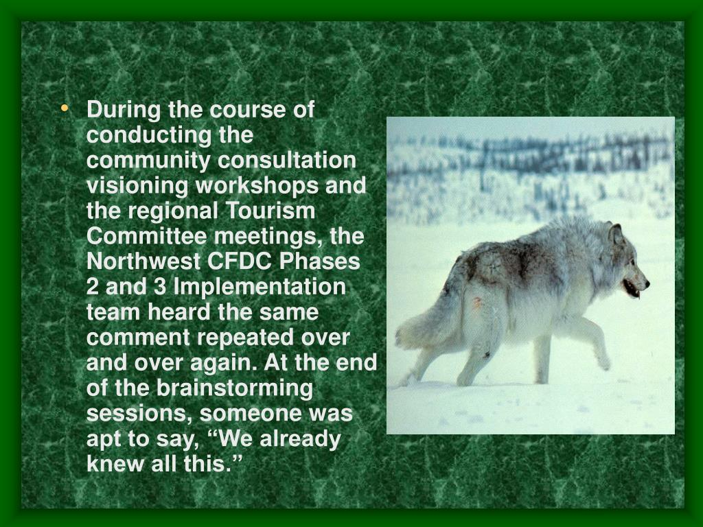 """During the course of conducting the community consultation visioning workshops and the regional Tourism Committee meetings, the Northwest CFDC Phases 2 and 3 Implementation team heard the same comment repeated over and over again. At the end of the brainstorming sessions, someone was apt to say, """"We already knew all this."""""""