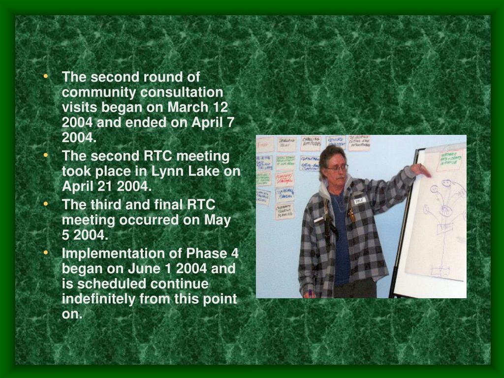 The second round of community consultation visits began on March 12 2004 and ended on April 7 2004.