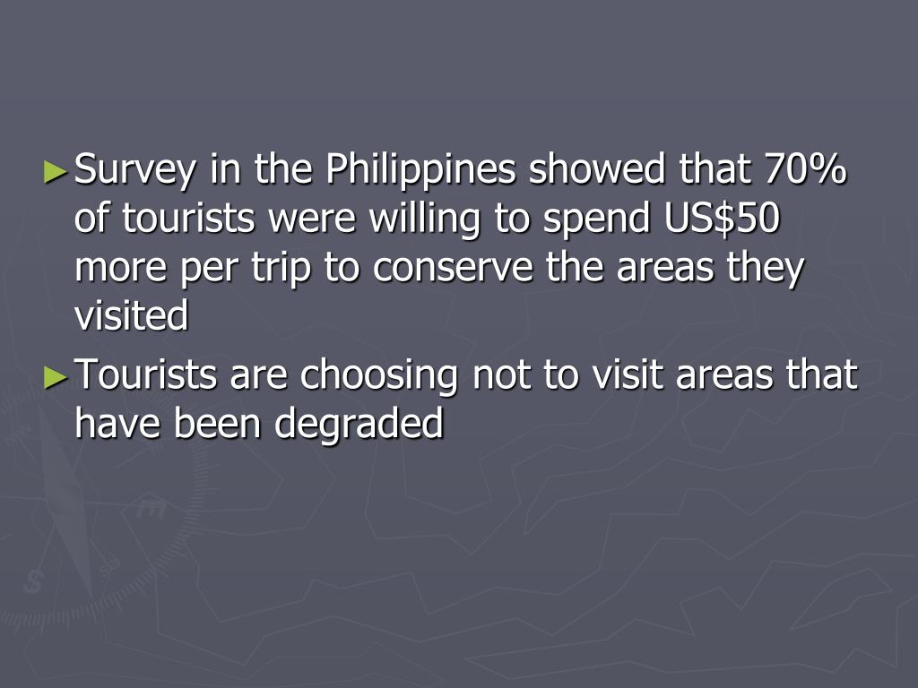 Survey in the Philippines showed that 70% of tourists were willing to spend US$50 more per trip to conserve the areas they visited