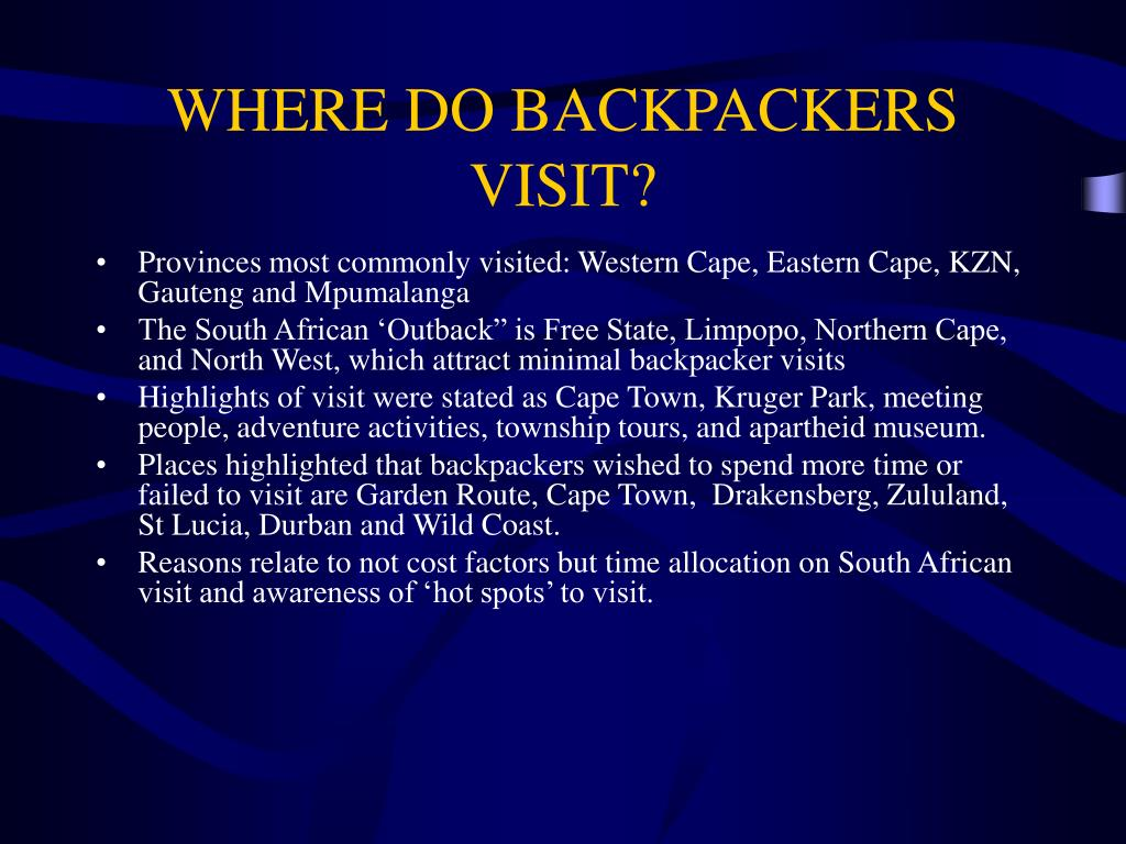 WHERE DO BACKPACKERS VISIT?