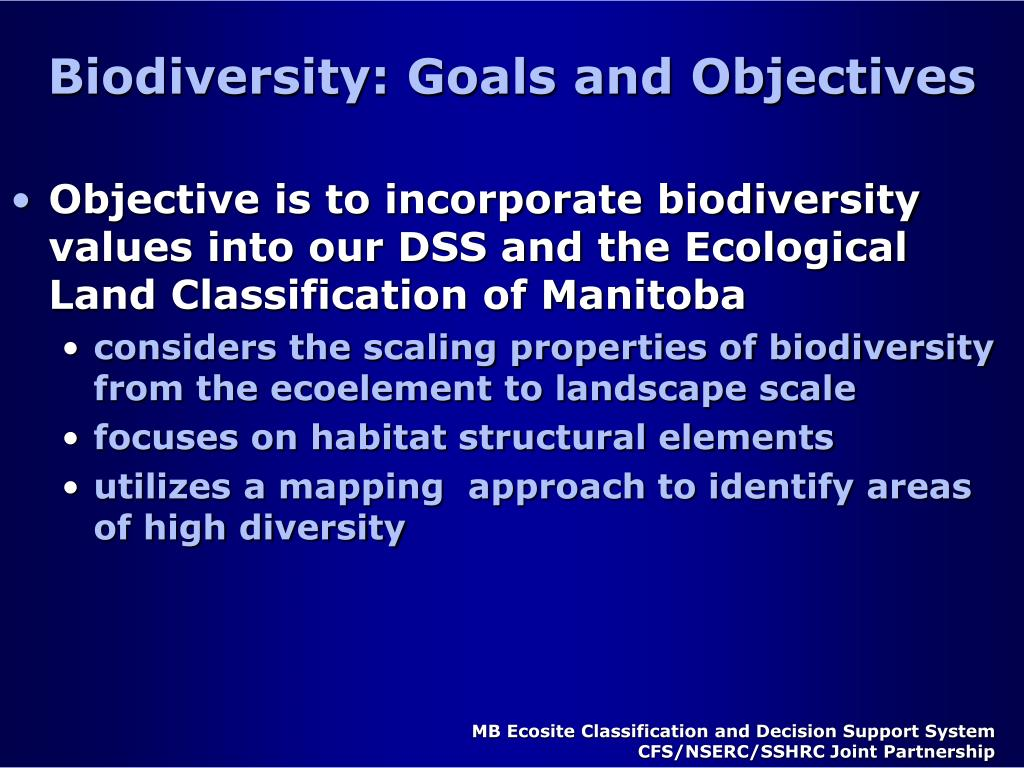 Biodiversity: Goals and Objectives