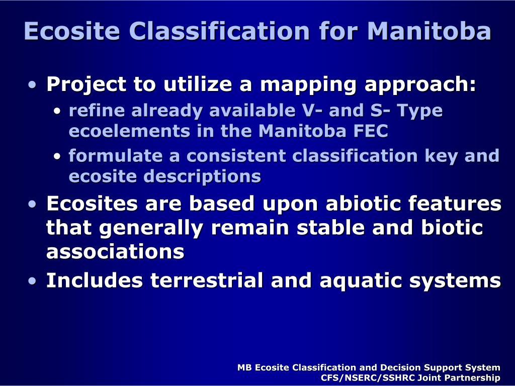 Ecosite Classification for Manitoba