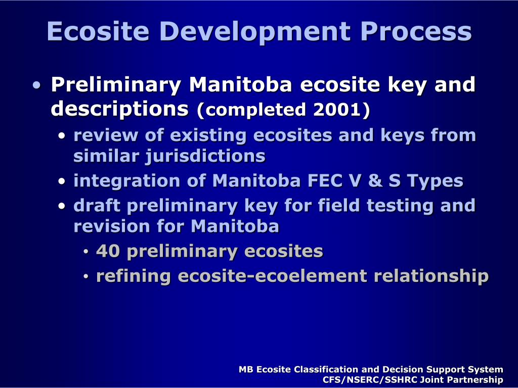 Ecosite Development Process