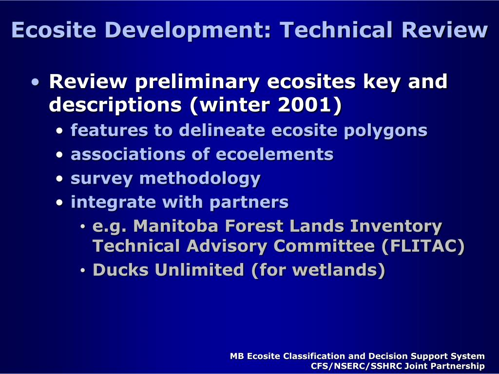 Ecosite Development: Technical Review