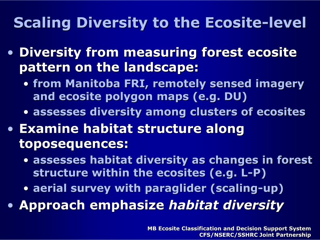 Scaling Diversity to the Ecosite-level