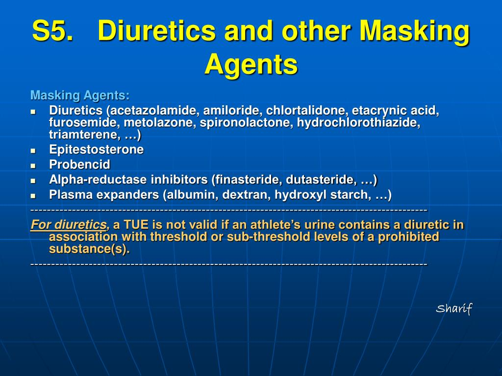 S5.   Diuretics and other Masking Agents