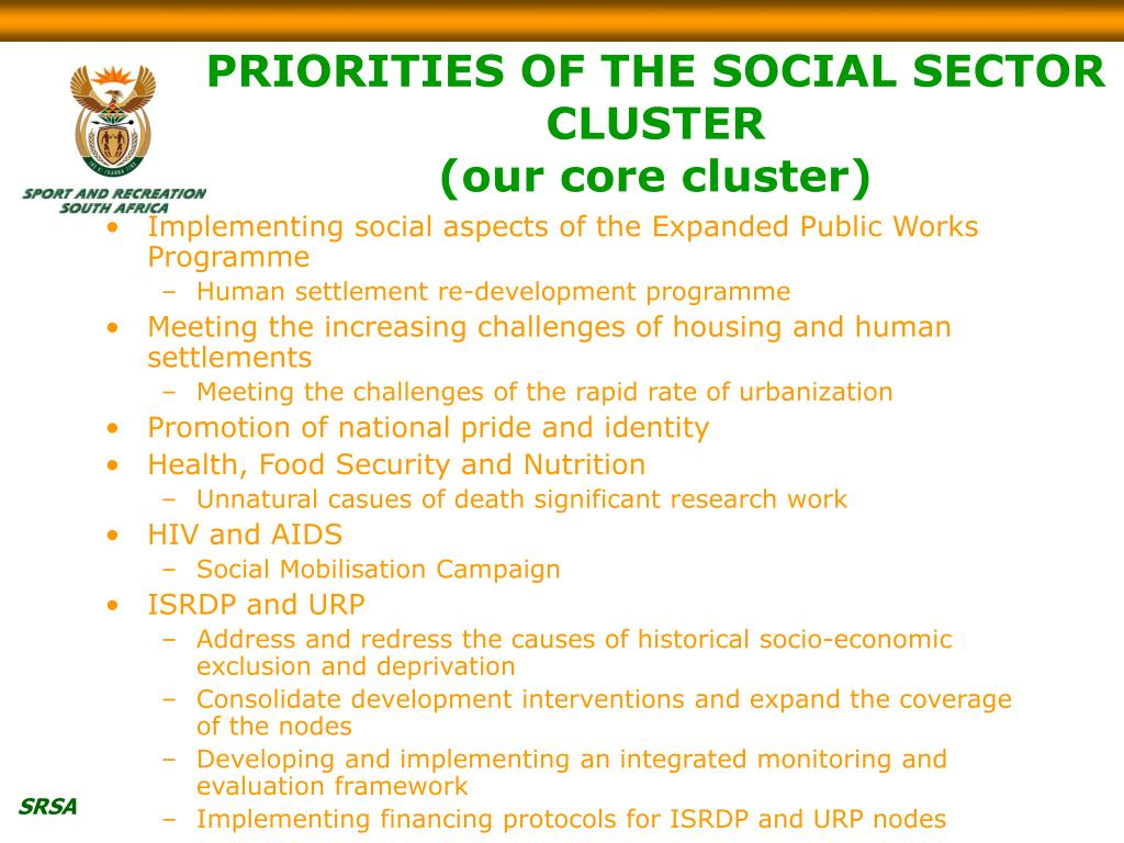PRIORITIES OF THE SOCIAL SECTOR CLUSTER