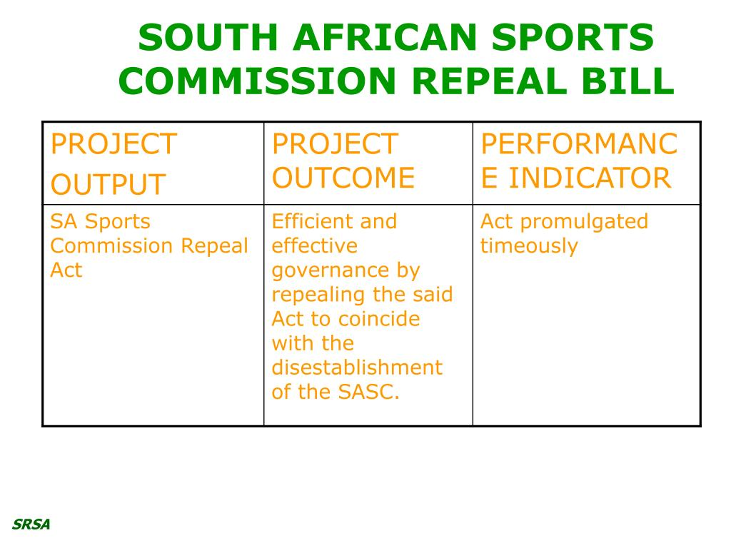 SOUTH AFRICAN SPORTS COMMISSION REPEAL BILL