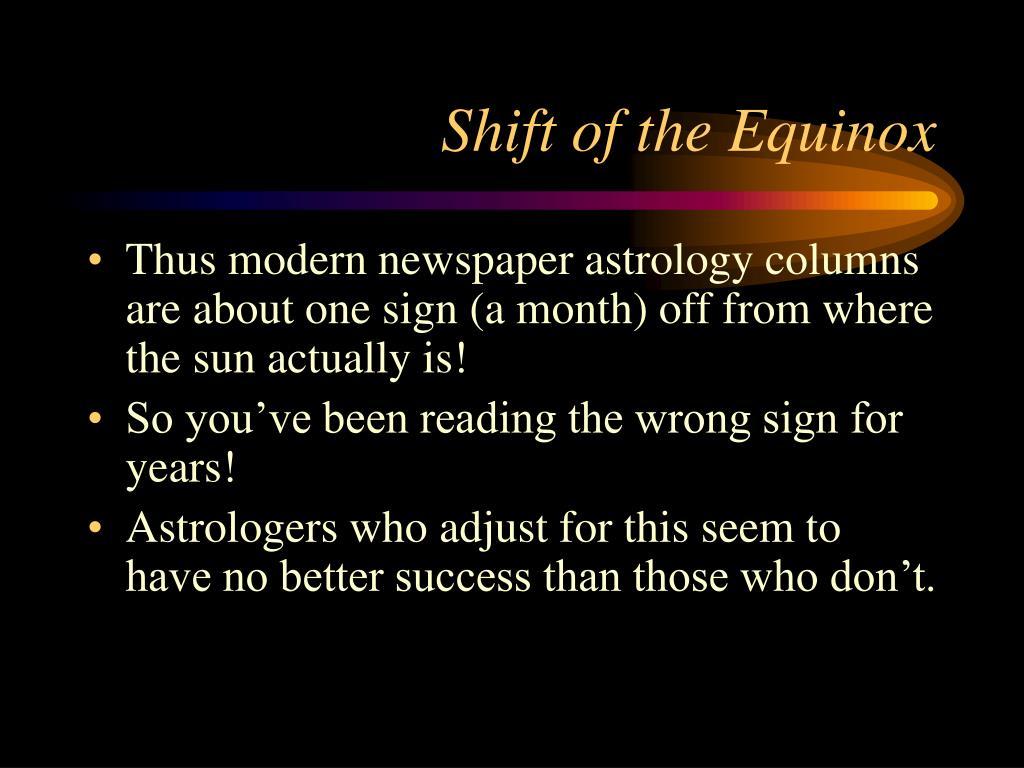 Shift of the Equinox