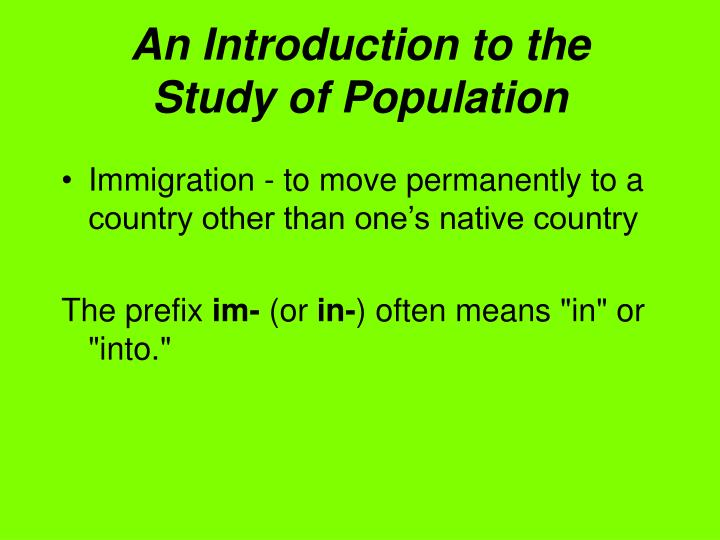 An introduction to the study of population1
