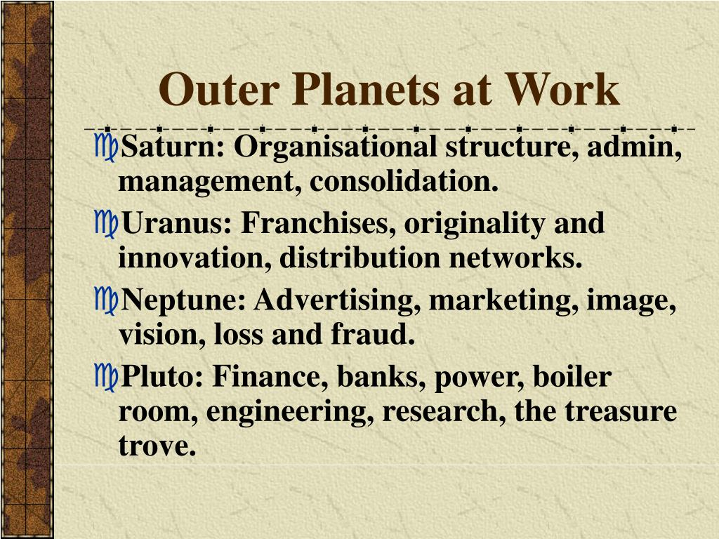 Outer Planets at Work