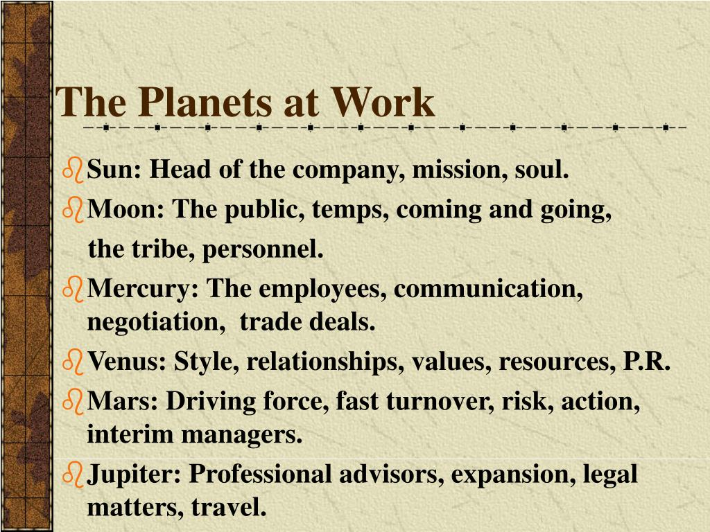 The Planets at Work