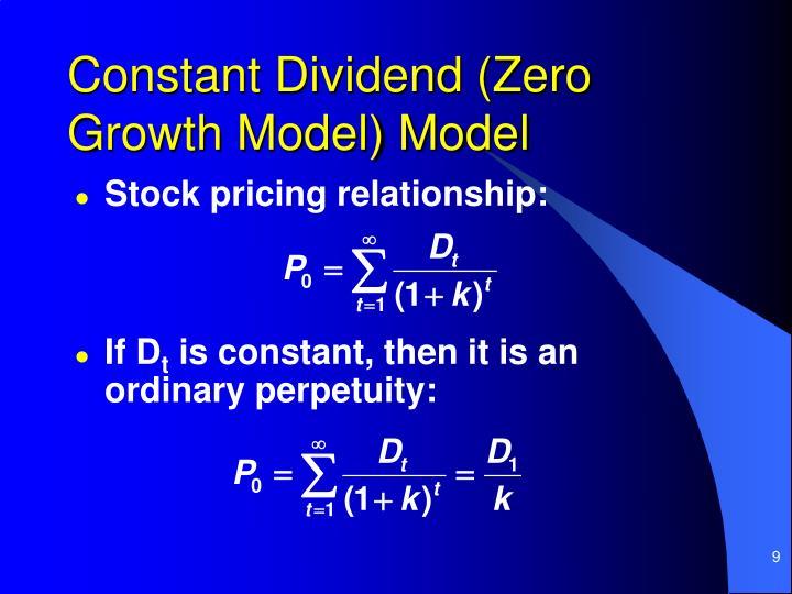 Constant Dividend (Zero Growth Model) Model