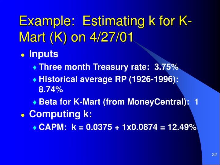 Example:  Estimating k for K-Mart (K) on 4/27/01