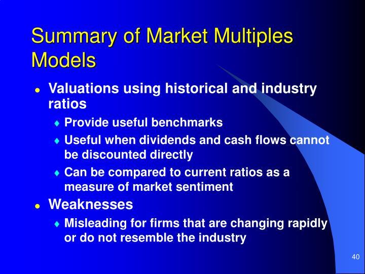 Summary of Market Multiples Models