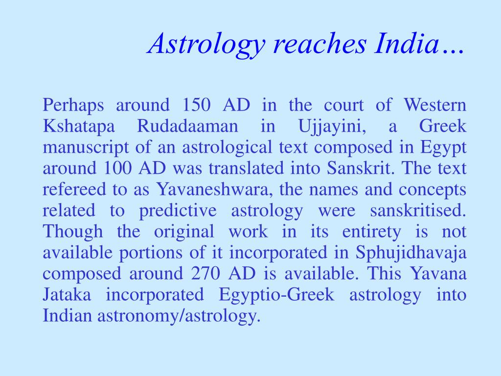 Astrology reaches India…