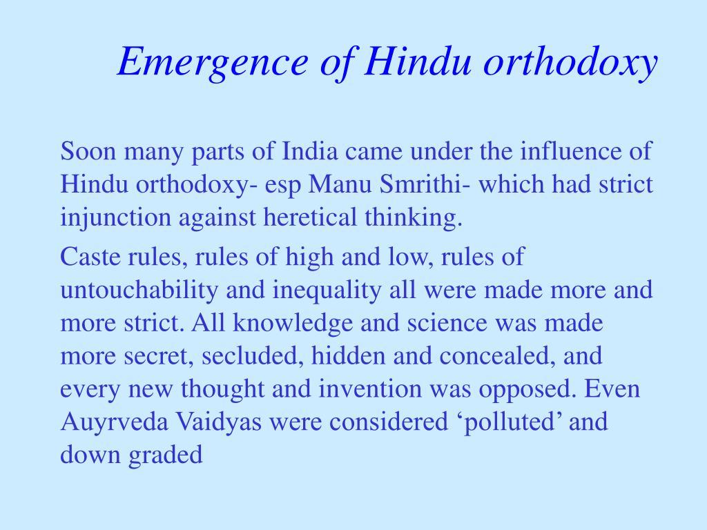 Emergence of Hindu orthodoxy
