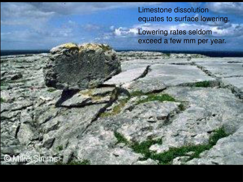Limestone dissolution equates to surface lowering.