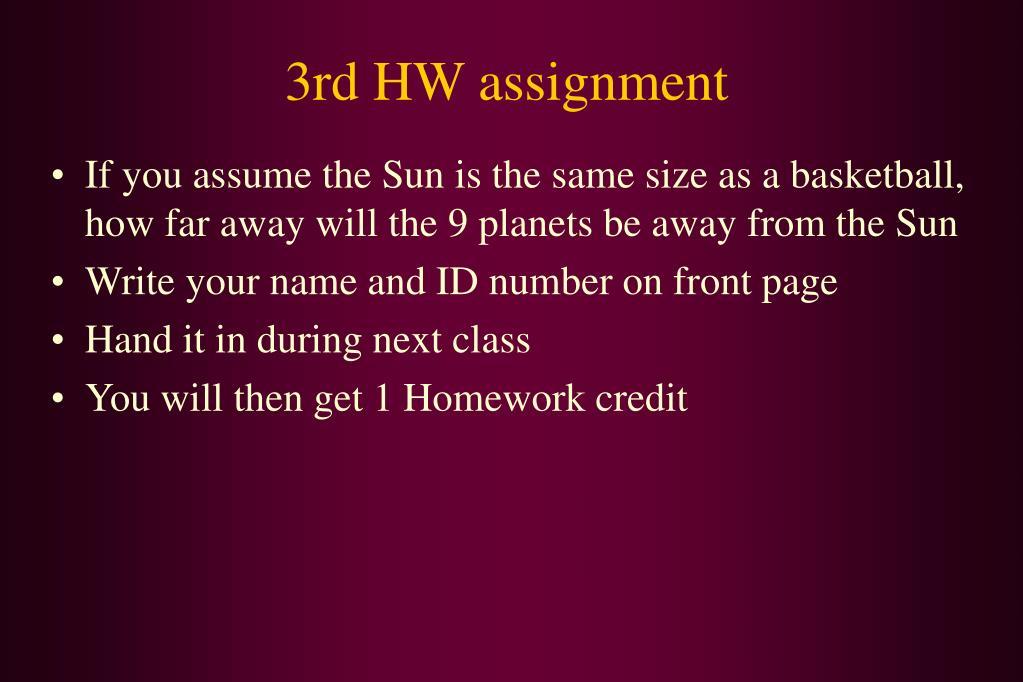 3rd HW assignment