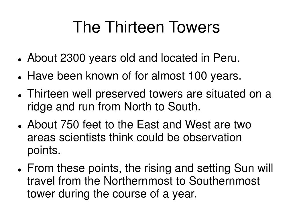 The Thirteen Towers