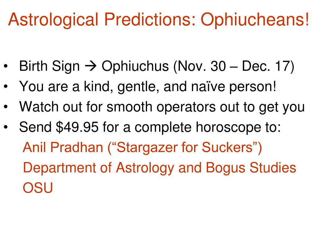 Astrological Predictions: Ophiucheans!