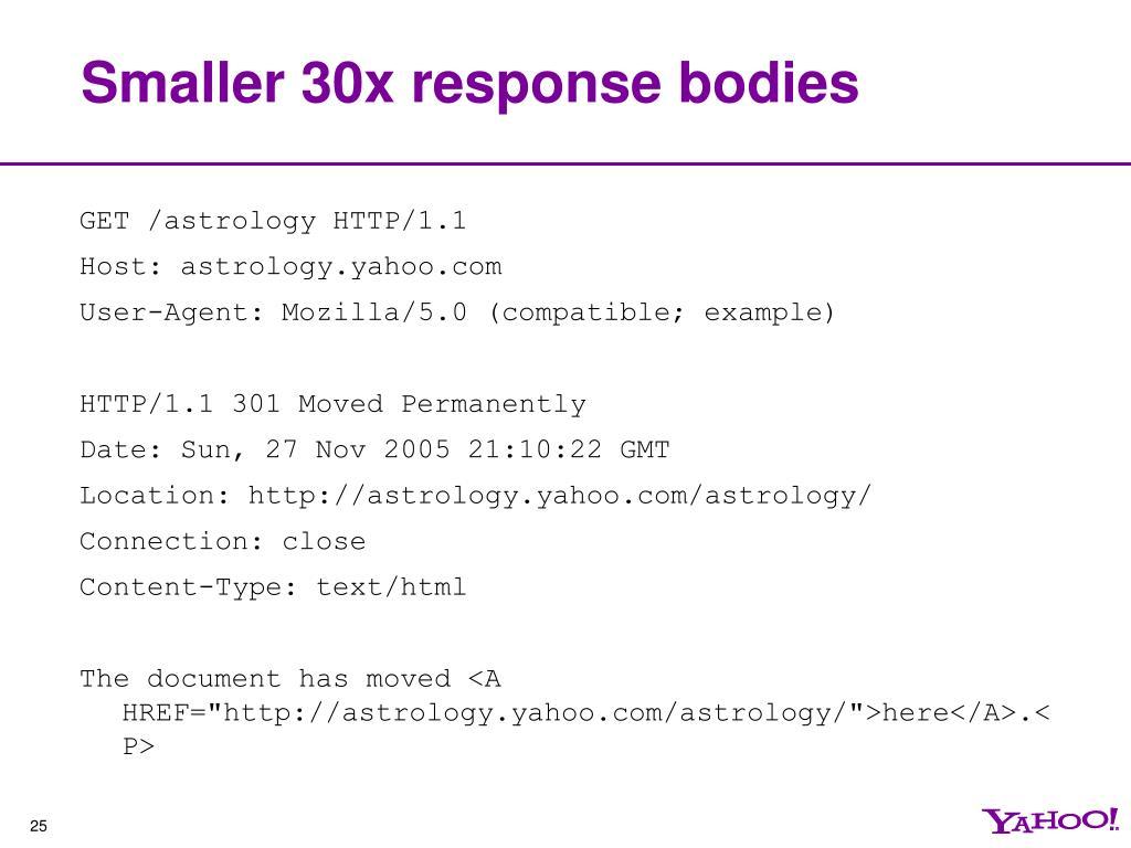 Smaller 30x response bodies